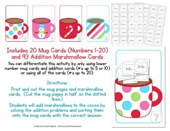 Cocoa and Marshmallows Math:  Adding up to 20 - Addition facts from 1-20