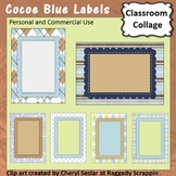 Cocoe Blue Frame, Sign or Label template - pers & comm use C. Seslar