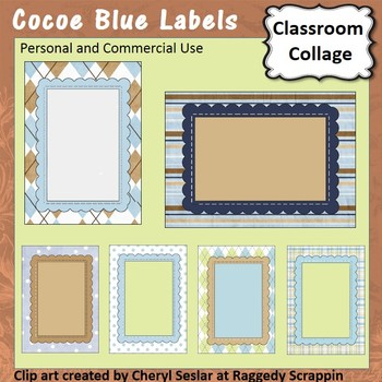 Cocoe Blue Frame, Sign or Label template - pers & comm use
