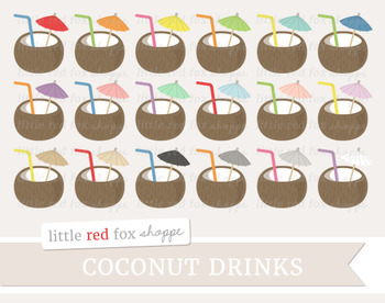Coconut Drink Clipart; Tropical, Vacation