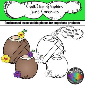 Coconut Drinks June Clip Art –Chalkstar Graphics