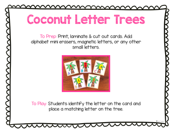 Coconut Letter Trees for Mini Erasers or Magnetic Letters