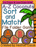 A-Z Coconut Tree Alphabet Sort & Match File Folder Game {P