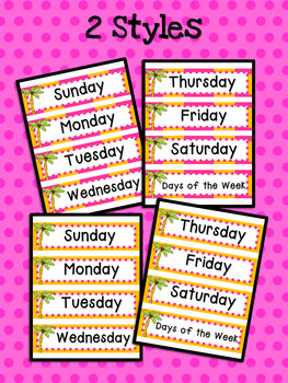 Coconut Tree: Days of the Week Cards