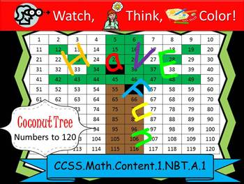Coconut Tree Hundreds Chart to 120 - Watch, Think, Color Mystery Pictures