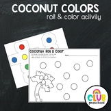 Coconut Tree Roll & Color Math Activity for Preschool, Pre-K