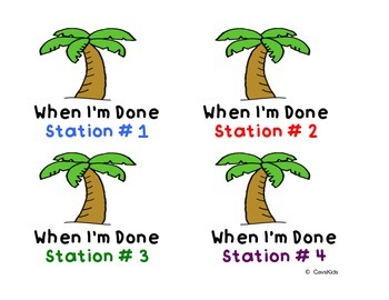 Coconut Tree -When I'm Done Station Labels & Student Numbers