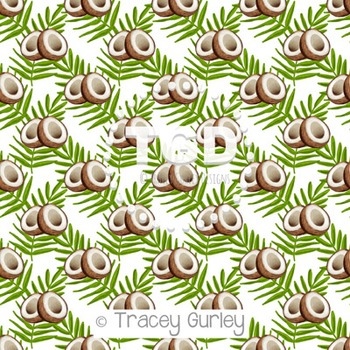 Coconuts and Palm Fronds on White digital paper Printable Tracey Gurley