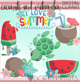 Coconuts and Watermelon Clipart