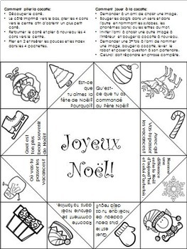 Noël Cocotte en papier- Christmas Cootie Catcher French