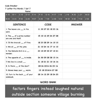Code Breaker (7 Letter Fry Words / Set 7)
