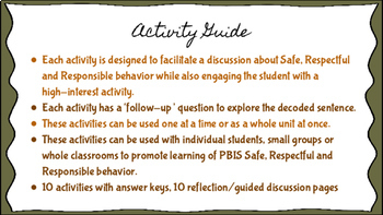 Code Breaker!  A PBIS Safe, Respectful & Responsible Social Skills Activity Set