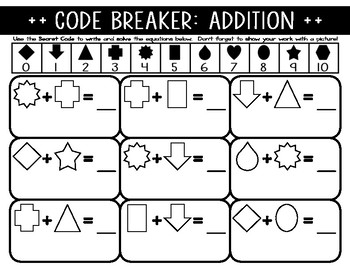 Code Breaker: Addition & Subtraction (Equations/Solving) for pre-K, K, & 1
