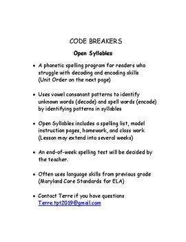 Open Syllables /Spelling CODE BREAKERS