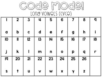Code Mode!  Long Vowels (CVCE)