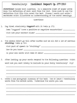 Code Name Verity Vocabulary Lists and Worksheets- Common Core Aligned