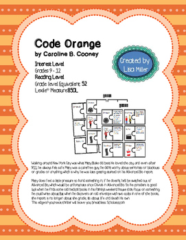 Code Orange Novel Unit with Differentiated/Interactive Not