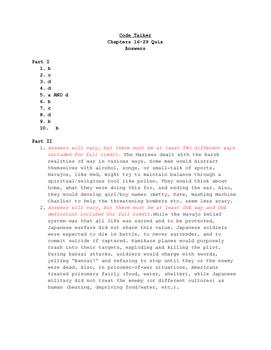 Code Talker: Chapters 16-29 Quiz
