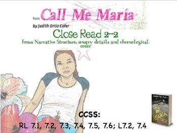 Code X Unit 1 Grade 7, Call Me Maria, Read 2.2 , Narrative