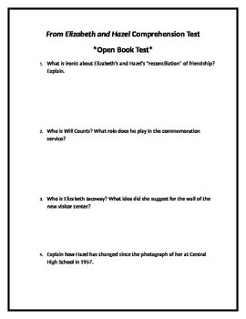 Code X Unit 7: from Elizabeth and Hazel Comprehension Test