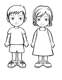Code coloring Boy and Girl First day of school activity