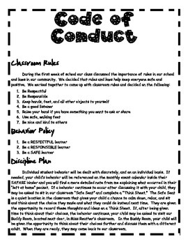 Code of Conduct and Classroom Community Rules