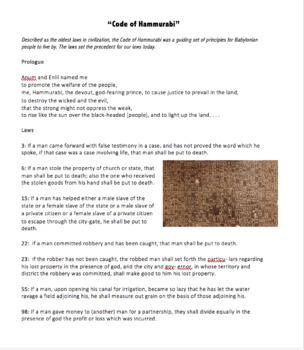 Code of Hammurabi Primary Source Bundle A: Transcript of Code, Primary Source ?s