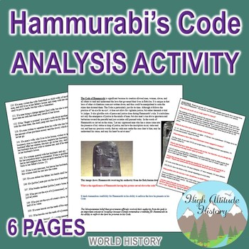 Code of Hammurabi Primary Source Group Work Analysis