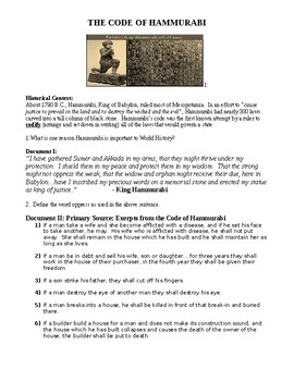 Code of Hammurabi Student Worksheet Primary source alligned for new Regents