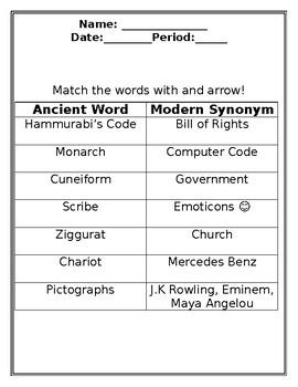Code of Hammurabi post-lesson or review worksheet