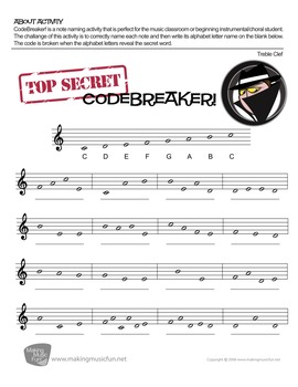 CodeBreaker! | Free Treble and Bass Clef Note Name Worksheets
