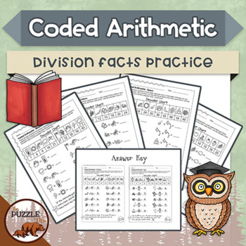 Coded Arithmetic Division - 13 puzzles practicing facts from 1 to 10