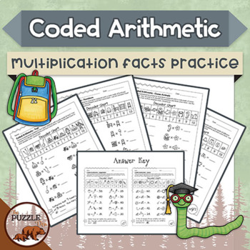 Coded Arithmetic Multiplication - 13 puzzles practicing facts from 1 to 10