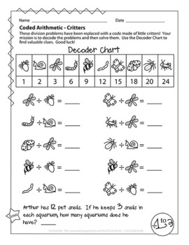 Coded Arithmetic Multiplication & Division Bundle - 26 Pages of Math Puzzles