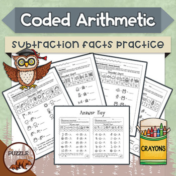 Coded Arithmetic Subtraction- 13 puzzles practicing facts from 1 to 10