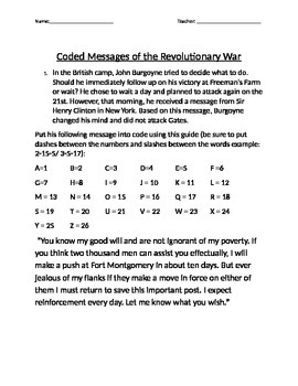 Coded Messages from The Revolutionary War