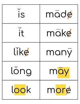 Coded Sight Word Cards (set #1, Fry words 1-100)