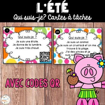 Codes QR - Été - Cartes à tâches - Qui suis-je? French Summer Task Cards