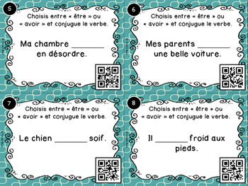 codes qr tre ou avoir cartes t ches french verbs task cards. Black Bedroom Furniture Sets. Home Design Ideas