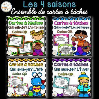 Codes QR - Les saisons - Ensemble de cartes à tâches - Seasons Task Cards