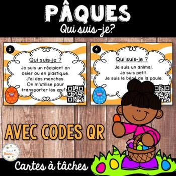 Codes QR - Pâques - Cartes à tâches - Qui suis-je? Easter Task Cards