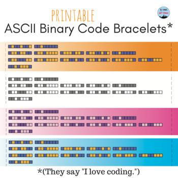 "Coding Bracelets - ""I love coding."" in ASCII Binary Code"