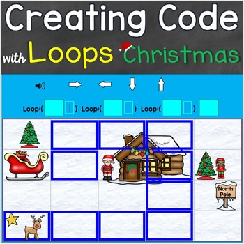 Coding, Creating Code with Loops Christmas Theme Digital Boom Cards