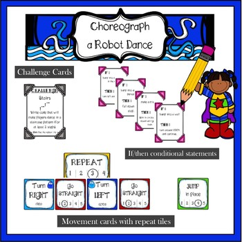 Coding Activity unplugged interactive game robot dance | distance learning