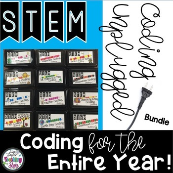 """Coding """"Unplugged"""" Bundle for the Entire Year includes Back to School coding"""