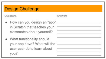 STEM, Scratch, Design Cycle: Start of Year Activity
