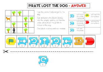 Coding for Juniors - Using Scratch Jr, making turns, 1 extra block, answer key
