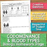 Codominance and Blood Types Biology Homework Worksheet