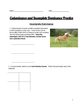 Codominance and Incomplete Dominance Practice Problems