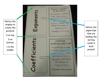 Coefficients versus Exponents Pocket Foldable (Flippable) with Sort